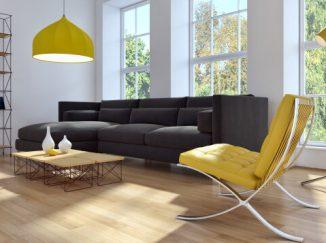 vizualizácia obývačky so žltým akcentom