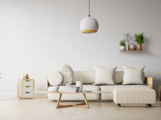 vizualizácia obývačky v bielom prevedení