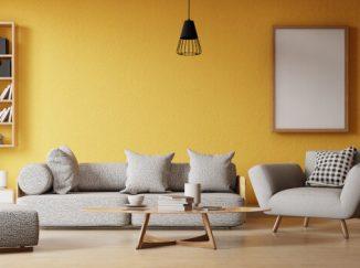 vizualizácia obývačky so žltými stenami