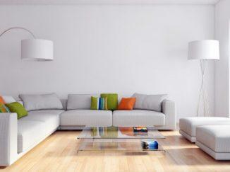 vizualizácia obývačky v sivom prevedení