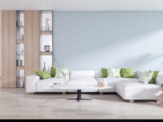 vizualizácia obývačky so zelenými akcentmi