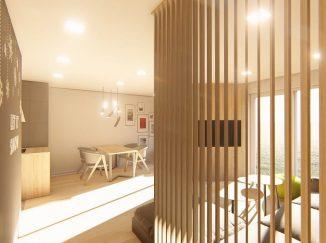 3D vizualizácia obývačka s drevom