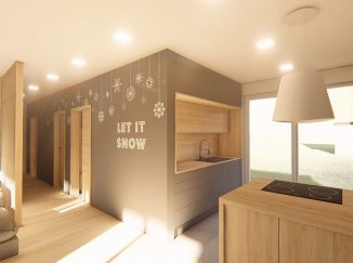 3D vizualizácia kuchyňa s drevom