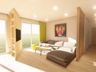 3D vizualizácia obývačka s drevenou stenou