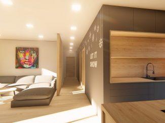 3D vizualizácia kuchyňa s obývačkou s drevom
