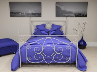 vizualizácia spálne s fialovým akcentom