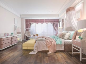 vizualizácia spálne v staroružovej farbe