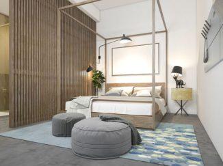 vizualizácia spálne s drevom