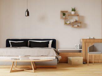 vizualizácia spálne so svetlým drevom