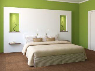 vizualizácia spálne so zeleným akcentom