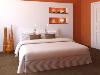 vizualizácia spálne s oranžovým akcentom