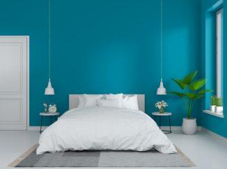 vizualizácia spálne s modrým odtieňom na stene