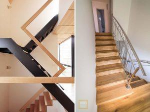 Drevené schody s kovovým zábradlím