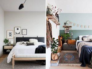 moderná a vintage spálňa