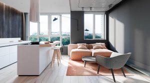 sivá a ružová v interiérovom dizajne