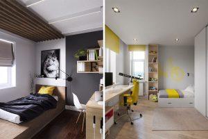 študentské izby so žltými prvkami