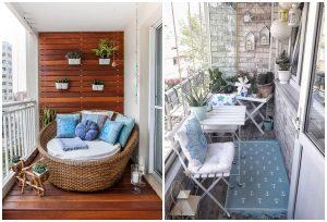 balkóny s modrými doplnkami