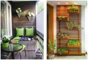 balkón so zelenými doplnkami a vertikálna záhradka
