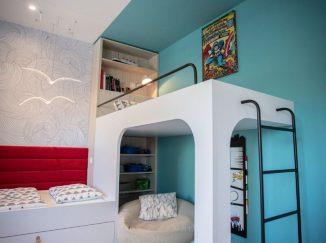 detská izba s netradičnou poschodovou posteľou