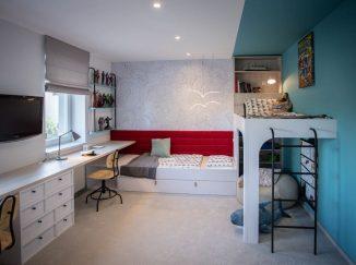 Tyrkysovo-červená detská izba na mieru