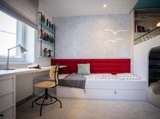 detská izba s červenou zástenou