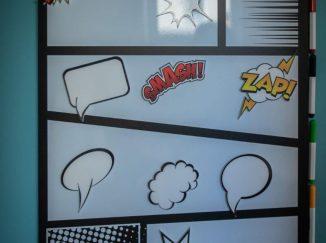 magnetická tabuľa na poznámky s komiksovými bublinami