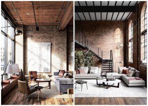 obývačky v industriálnom štýle