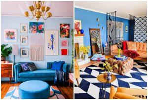 eklektický štýl bývania modrá farba