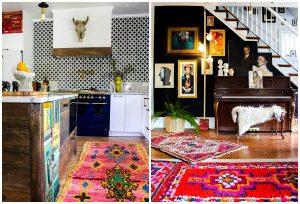 eklektický štýl bývania farebné koberce