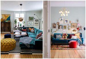 eklektický štýl bývania sedačky