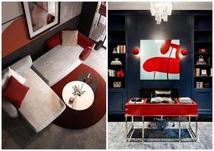 červená farba v interiéri