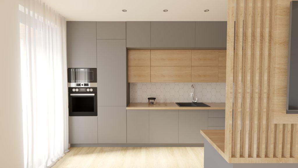 Vizualizácia – Moderná jednoduchá kuchyňa