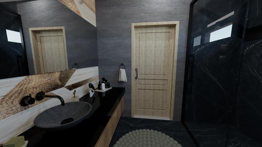 Vizualizácia – kompaktná kúpeľňa v tmavej farbe