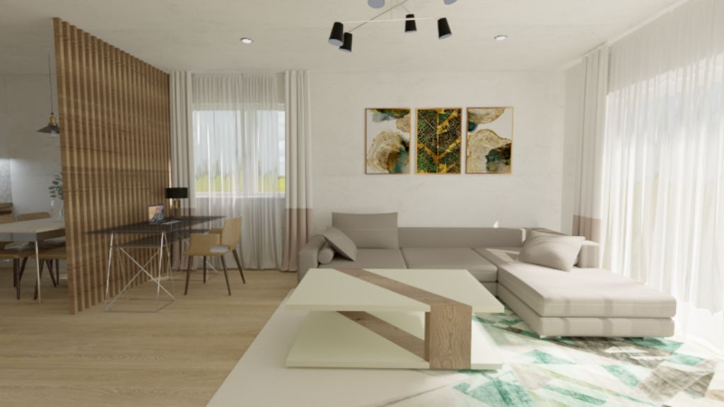 Vizualizácia – kuchyňa s jedálňou
